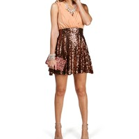 Erin- BlushBronze Sequin Skater Dress