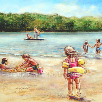 "Beach children playing, original pastel painting,  ""Childhood Days at the Lake"" Laurie Shanholtzer 18x22"