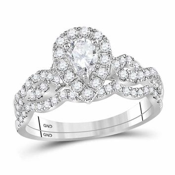 14kt White Gold Women's Pear Diamond Twist Bridal Wedding Engagement Ring Band Set 1.00 Cttw - FREE Shipping (US/CAN)