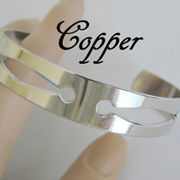 Vintage Copper Chromed Cuff Bracelet * Signed Genuine Copper * Jewelry * Jewellery
