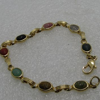 "Vintage Petite Scarab Bracelet, 7.5"", 1960's,m Gold Tone, Tiger's Eye, Onyx, and more"