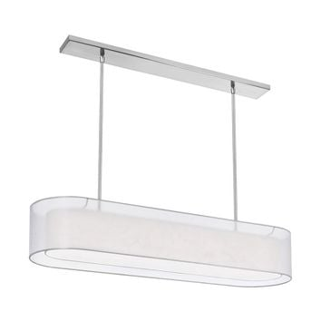Dainolite 4 Light Oil Brushed Bronze Pendant with Double White Shade with 720 Diffuser