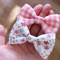 """Set of two 3"""" small hair bows, floral hair bow clip, gingham hair bow, pink hair bow, pink & white, kids toddler hair bow, girls hairbow"""