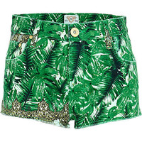 Green palm print super short denim hotpants - shorts - sale - women