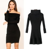 Knit Autumn Women's Fashion Hot Sale Sexy Skirt One Piece Dress [31066456090]