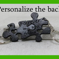 Personalized Friendship Puzzle piece key chains Forever my best friend quote Hand dyed Leather Made To Order