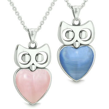 Amulets Owl Cute Hearts Love Couples Set Pink and Star Blue Cats Eye Pendant Necklaces