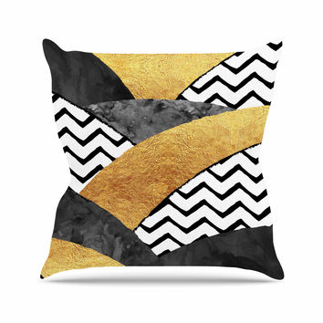 "Zara Martina Mansen ""Chevron Hills"" Gold Black White Outdoor Throw Pillow"