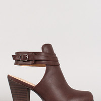 Natalie-2 Buckle Cut Out Almond Toe Ankle Bootie