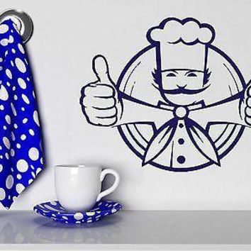 Wall Sticker Chef Jacket Chief Toques Dish Food Cool Vinyl Decal Unique Gift (n343)