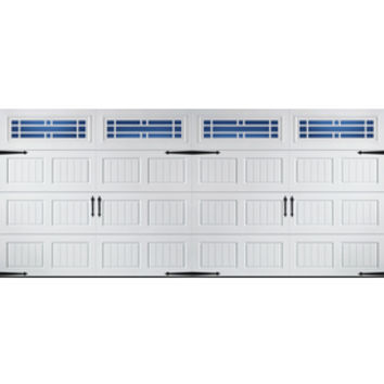 Shop Pella Carriage House Series 192-in x 84-in Insulated White Double Garage Door with Windows at Lowe's