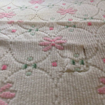 Chenille Vintage -Bedspread-Full Size-Fringe-White with Pink and Green-Cutter-Pillows-Reupholstery-Repurpose-Home Decor