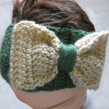 Bow Headband - Green and Tan - Women's Oversized Bow Headband