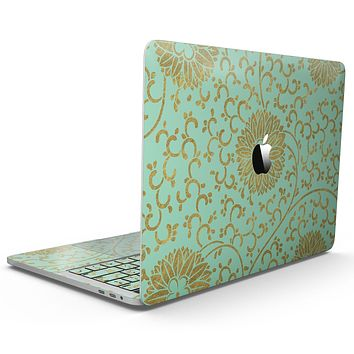 Mint and Gold Floral v5 - MacBook Pro with Touch Bar Skin Kit