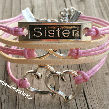 Sister Jewelry, Sister Bracelet, Gift for Sister, Matching Sister Bracelets, Big Sister Little Sister, Heart Jewelry, Infinity Sister