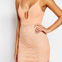 Love Triangle Lace Plunge Front Mini Dress