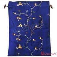 Wrapables Beautiful Embroidered Silk Travel Bag for Lingerie and Shoes, Dark Blue