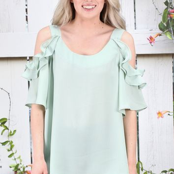 Ruffled Sleeve Open Shoulder Blouse {Sage}