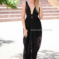 BACHELORETTE MAXI , DRESSES, TOPS, BOTTOMS, JACKETS & JUMPERS, ACCESSORIES, 50% OFF SALE, PRE ORDER, NEW ARRIVALS, PLAYSUIT, COLOUR, GIFT VOUCHER,,MAXIS,CUT OUT,SLEEVELESS,Black Australia, Queensland, Brisbane