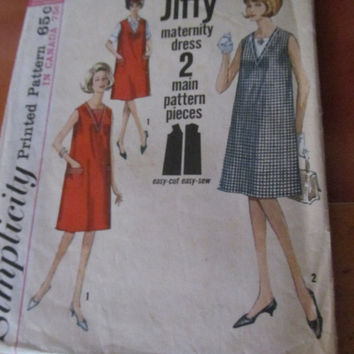 SALE 1960's Maternity Dress Simplicity Sewing Pattern, 5493!  Size 14, Women's, Teens, Juniors, Dress, Tunic, Apron.