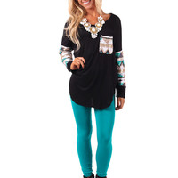 Black Sequin Long Sleeve Top with Pocket Detail