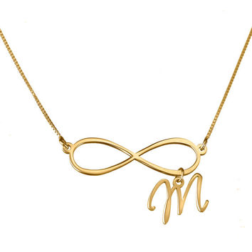mothers day gift's - Initial Infinity Personalized Necklace - 24k gold plated, pendent size: 1""