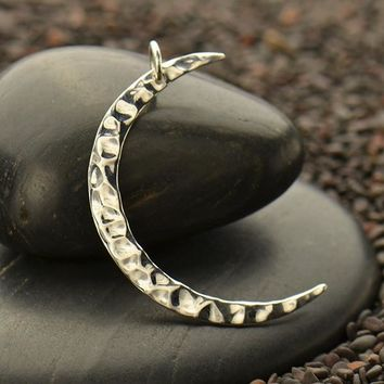 Large Hammered Crescent Moon Charm
