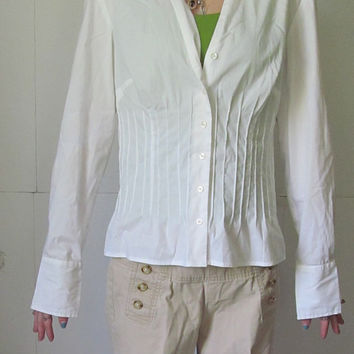 Ann Taylor Loft Tops White Long Sleeve Fitted Blouse Junior Tunics sz 0 Small Tops  Boho Chic Trending Tops and Blouses