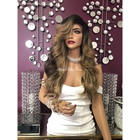 """Blond Balayage Highlights Layered Long Silky Hair Swiss Lace Front Wig 22"""" 
