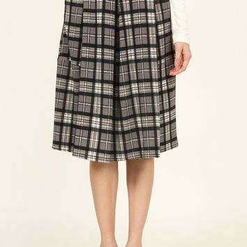 Plaid Pleated Pocket Midi Dress