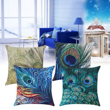 "Peacock Feather Linen Throw Pillowcase Cushion Covers Decorative Pillows Home Decor - 18""x18"" (4 styles)"