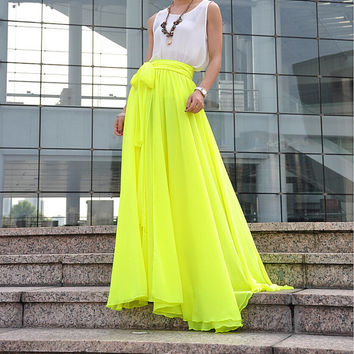 High Waist Maxi Skirt Chiffon Silk Skirts Beautiful Bow Tie Elastic Waist Summer Skirt Floor Length Long Skirt (037), #112