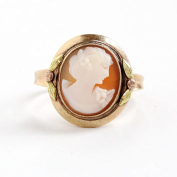 Antique 10k Rose Gold Cameo Ring- Size 9 1/4 Vintage 1920s 1930s Art Deco Carved Shell Fine Jewelry With Rose and Yellow Gold Flower Accents