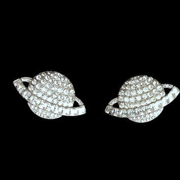 80's Vintage Butler and Wilson Earrings Swarovski Crystals Planet Saturn