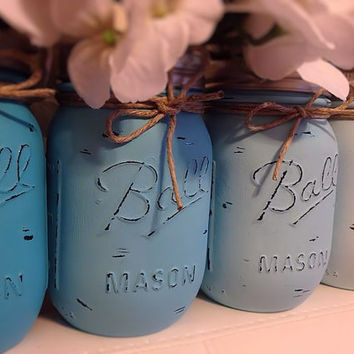 Blue Ombre Mason Jars, Nursery Decor, Boys Nursery, Baby Shower Decor, Shower Centerpiece, Wedding Centerpiece, Desk Organizer