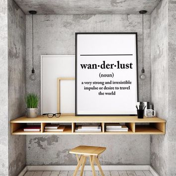 Wanderlust Definition Letters Canvas Painting Black White Poster Print Wall Art Picture for Kids Living Room Home Decor Unframed