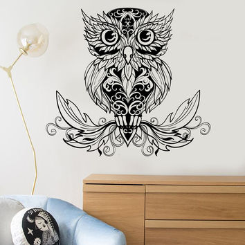 Vinyl Wall Decal Owl Bird Tribal Decor Room Decoration Stickers (ig3615)