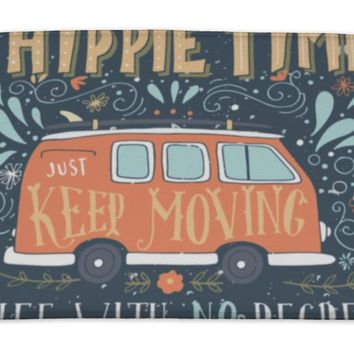 Bath Mat, Vintage Hippie Time Print With A Mini Van Decoration And Lettering Life With No
