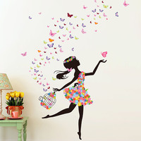 Butterfly Dancing Girl Wall Decal