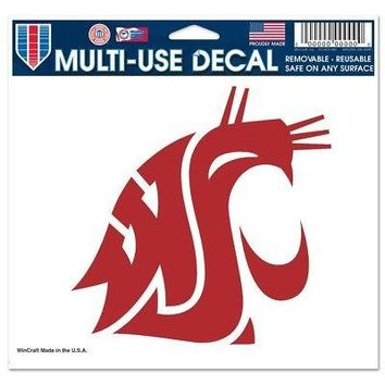 "Licensed Washington State Cougars 4.5"" x 6"" Car Window Cling Decal St Wincraft 217936 KO_19_1"