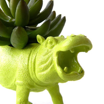 Up-cycled Lime Green Hippo Planter - Chartreuse Hippopotamus Planter - Wild Animal Planter - Geekery Room Decor - Christmas Gift