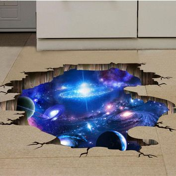 Outer Space Planets 3D Stickers Cosmic Galaxy Wall Decals Ceiling Floor Decoration Christmas Gift