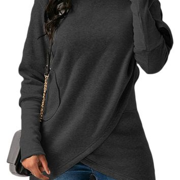 BETTE BOUTIK Womens Long Sleeves With Pocket Coat Jacket Hooded Sweatshirt Wrapped Hoodies