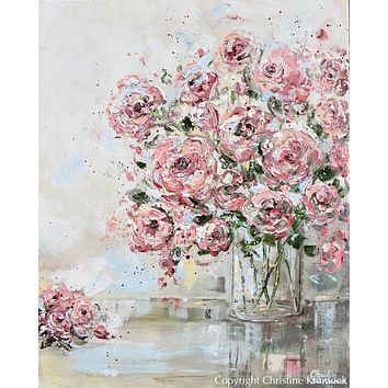 GICLEE PRINT Art Abstract Floral Painting Pink Flowers Bouquet Roses Canvas Wall Decor Love Always