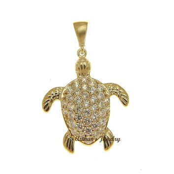 SOLID 14K YELLOW GOLD SPARKLY HAWAIIAN SEA TURTLE BLING CZ CHARM PENDANT 17.40MM