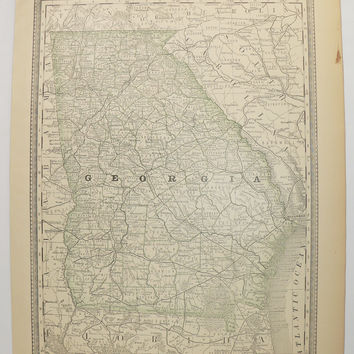 Antique Georgia Map GA Map 1881 Rand McNally Map of Georgia State Map, Georgia Gift for Couple, Vintage Georgia Office Decor Gift for Guy