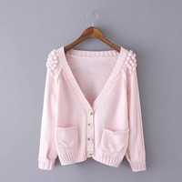 Dotted V-Neck Button Knitted Cardigan With Pocket