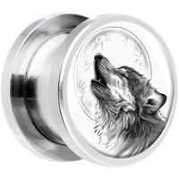 Stainless Steel Howling Wolf Screw Fit Plug Pair 00 Gauge