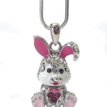 Whitegold Plating Epoxy and Crystal Bunny Rabbit Pendant Necklace