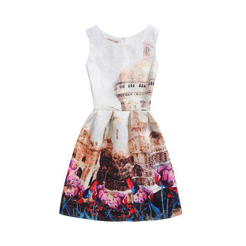 Hot 2XL New Brand Spring Summer Plus Size Women Print Floral Vest Dress Sleeveless A Line Party Fashion Dresses Vestido De Festa